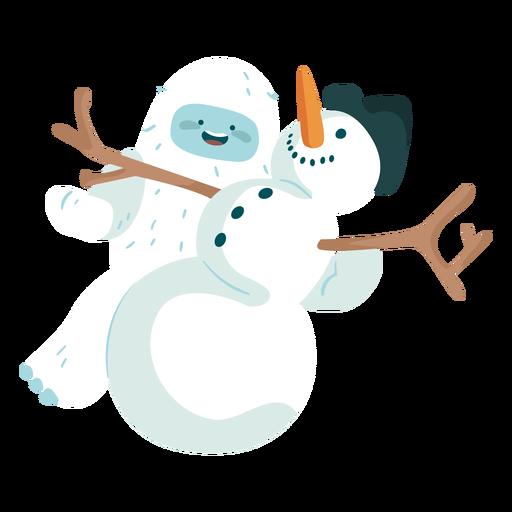 Yeti jugando con el muñeco de nieve Transparent PNG
