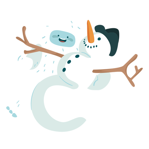 Yeti playing with snowman