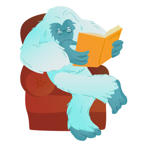 Yeti reading book Transparent PNG
