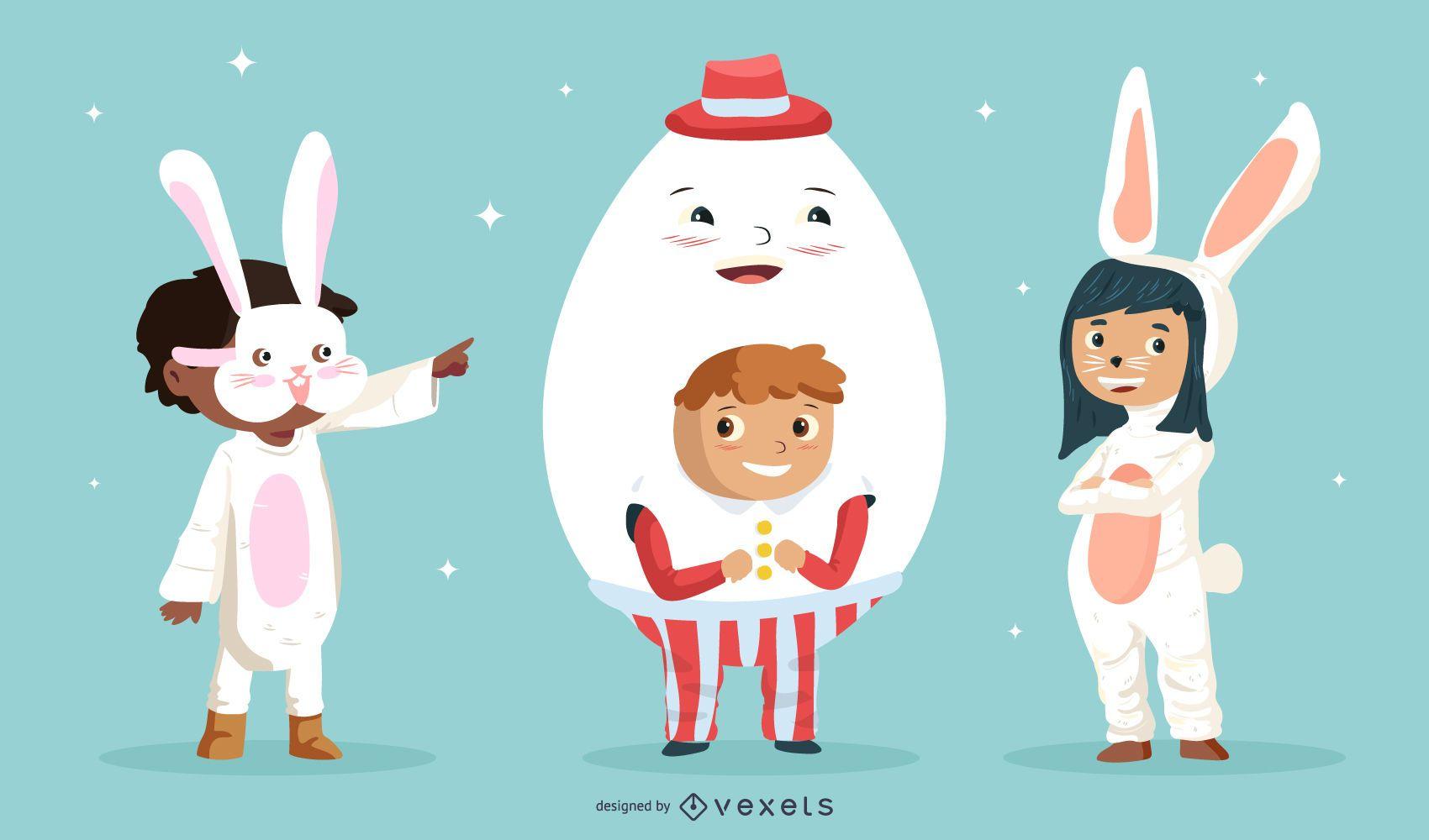 Pacote de personagens para crianças do Dia da Páscoa