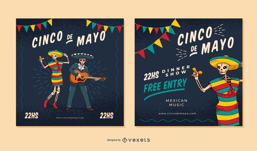Conjunto de pancartas cuadradas del Cinco de Mayo
