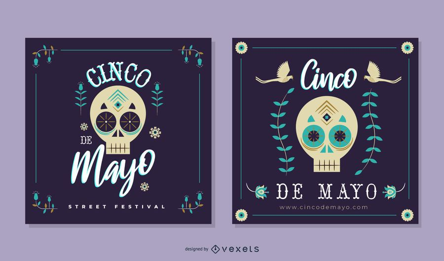 Paquete de pancartas con calaveras de Cinco de Mayo