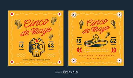 Cinco de Mayo Square Banner Set
