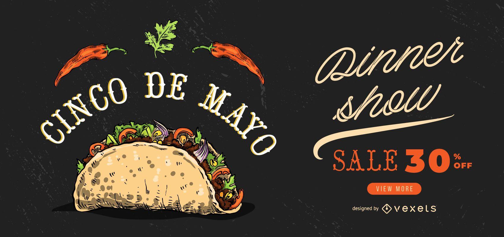 Diseño de banner de paisaje del Cinco de Mayo