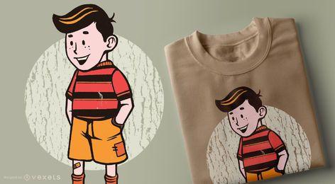 Projeto do t-shirt dos desenhos animados do menino do vintage