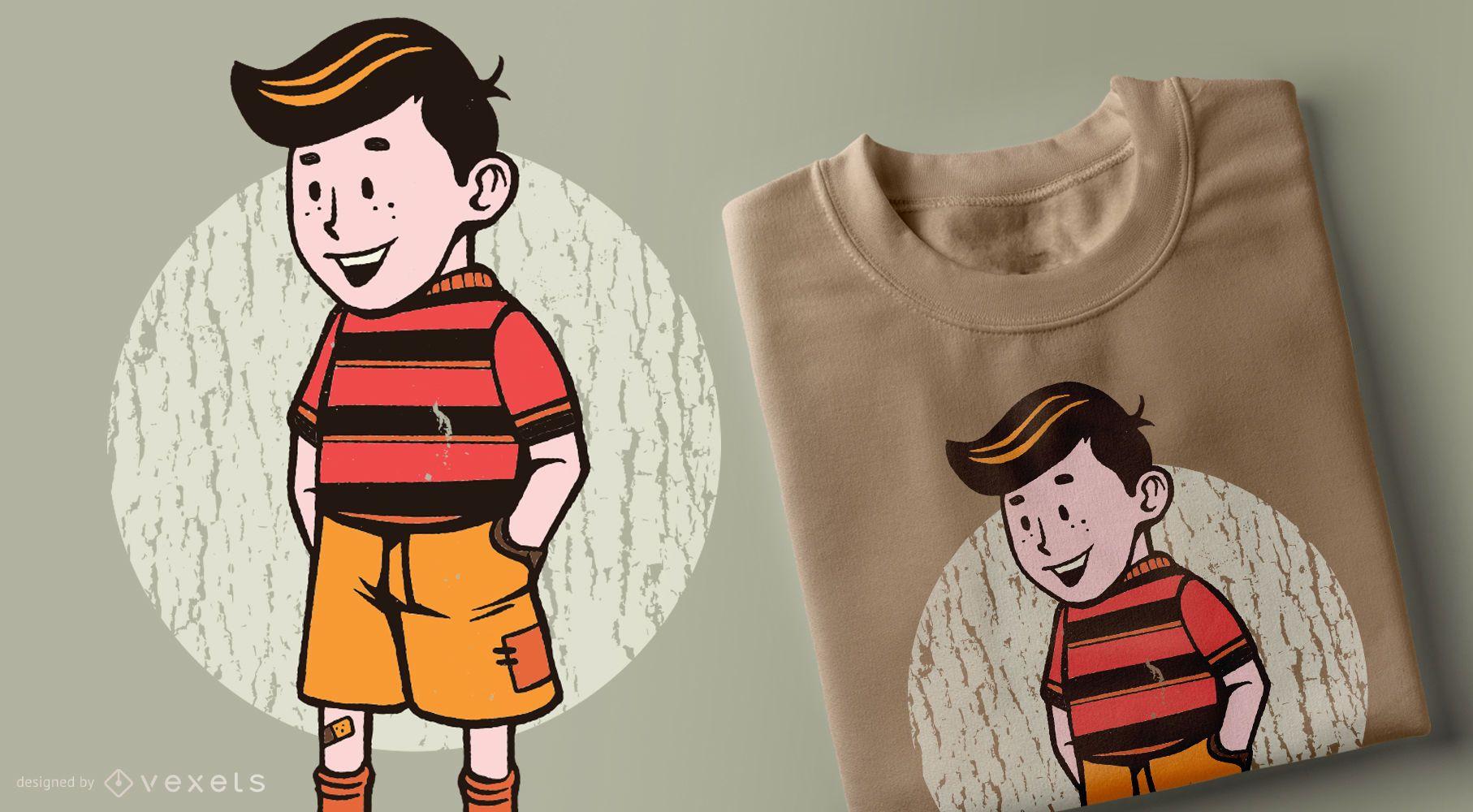 Vintage Boy Cartoon T-shirt Design