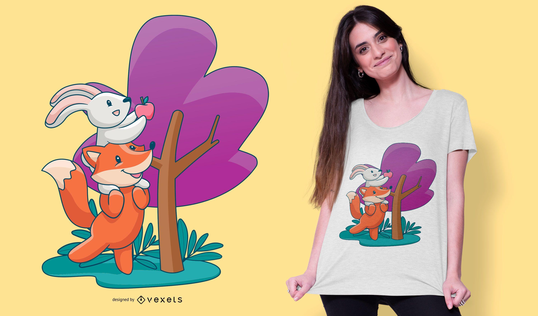 Fox And Bunny Cartoon T-shirt Design