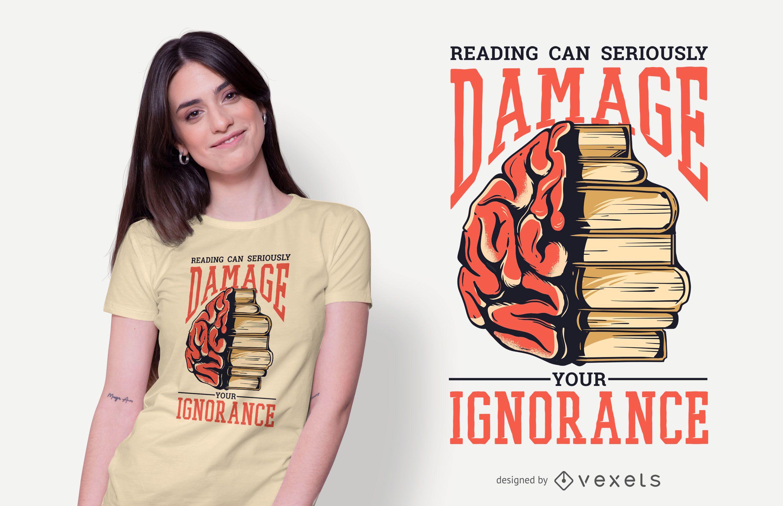 Diseño de camiseta de cita de libros de lectura