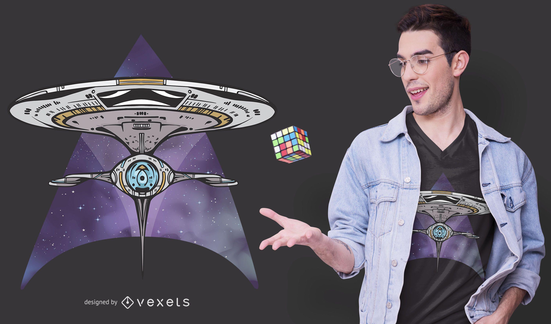 Diseño de camiseta de figura abstracta de desplazamiento espacial