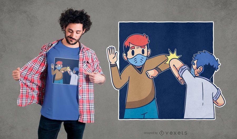 Diseño de camiseta de dibujos animados de saludo de coronavirus