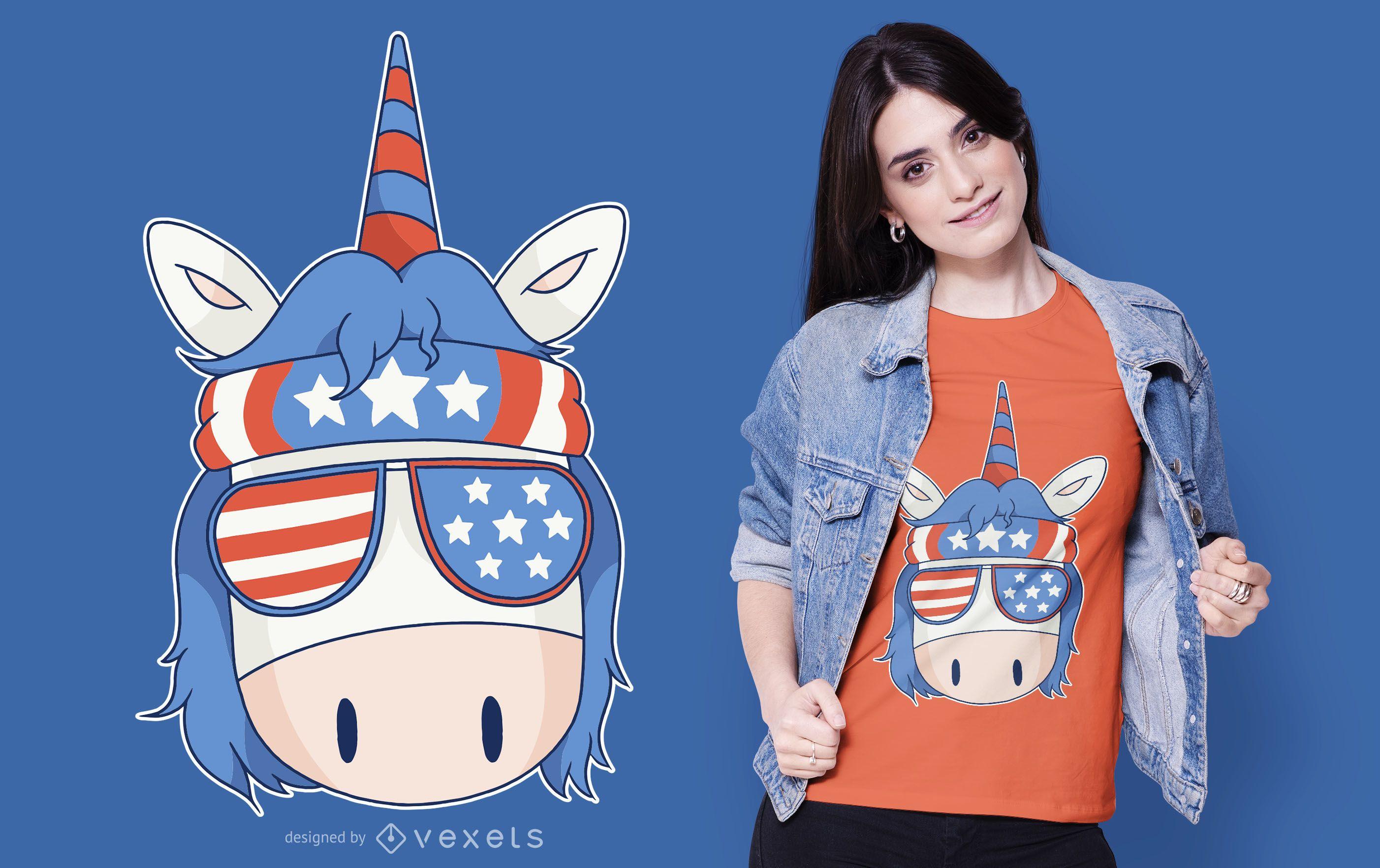 Diseño de camiseta American Rebel Unicorn