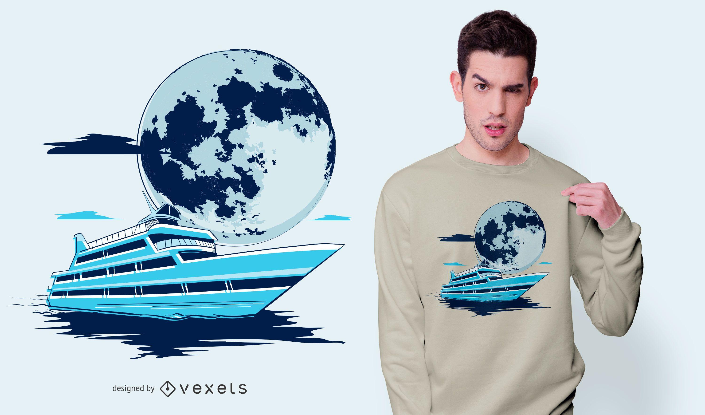 Diseño de camiseta Yacht Moon