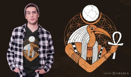 Diseño de camiseta de Dios egipcio de Thoth