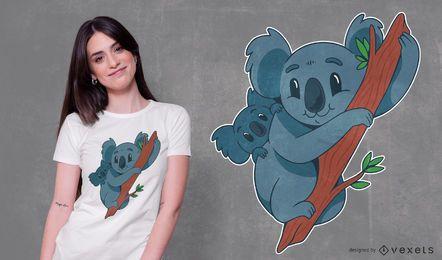 Diseño de camiseta Koala para mamá y bebé