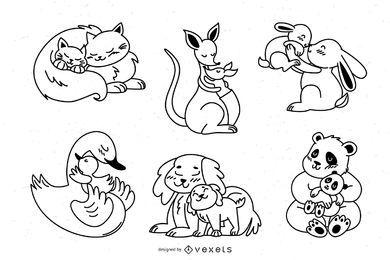 Paquete de diseño de trazos de mamás animales