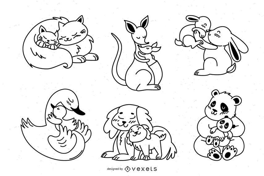 Paquete de diseño de trazo de mamás animales