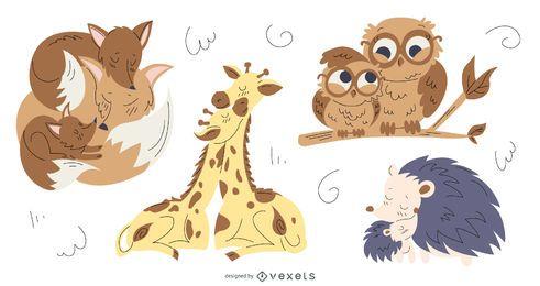Pacote de ilustrações de mães de animais