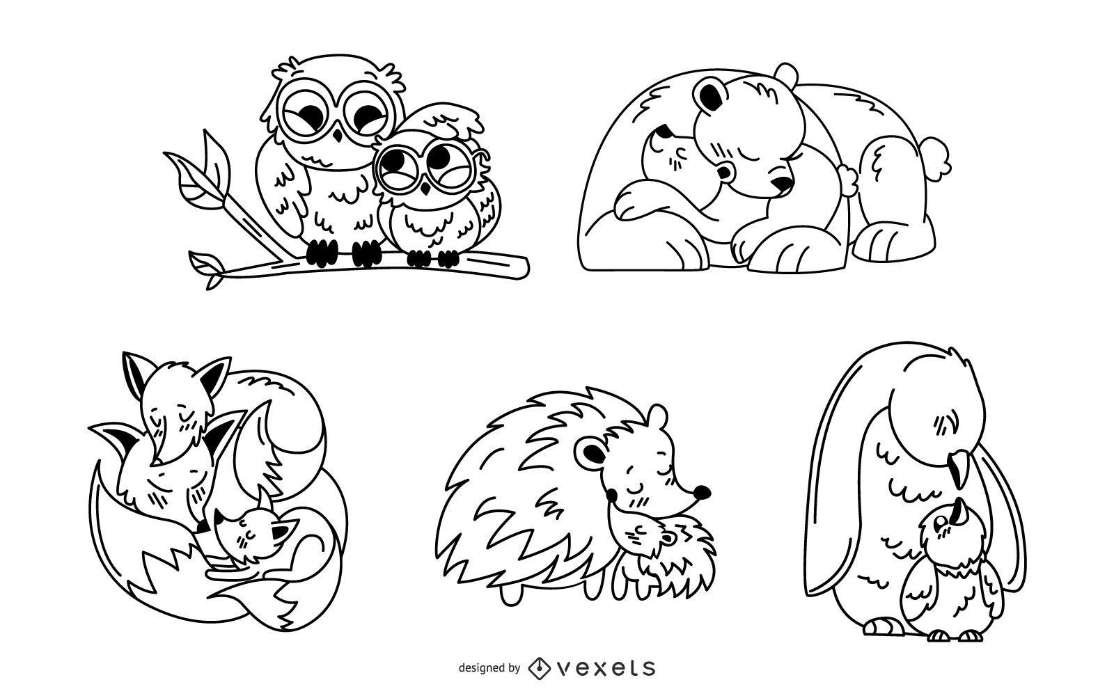 Paquete de diseño de trazo de mamá animal