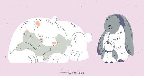 Conjunto de ilustração colorida de mãe animal