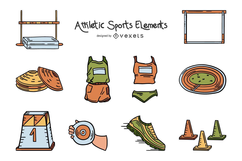 Pacote de ilustração de elementos atléticos