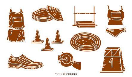 Paquete de silueta de ilustración de elementos atléticos