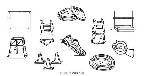Paquete de ilustración de trazo de elementos de atletismo