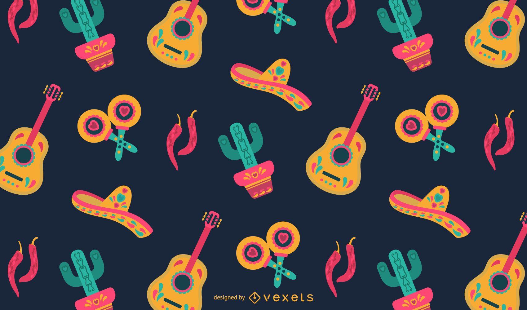 Diseño de patrón plano mexicano