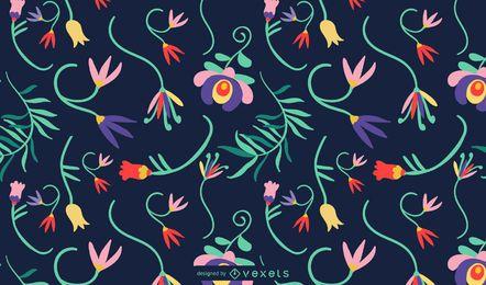 Desenho de padrão de flores mexicanas