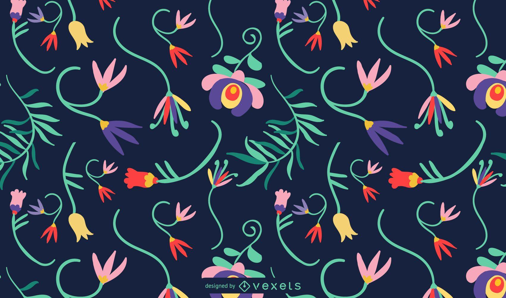 Diseño de patrón de flores mexicanas