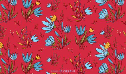 Desenho de padrão floral mexicano
