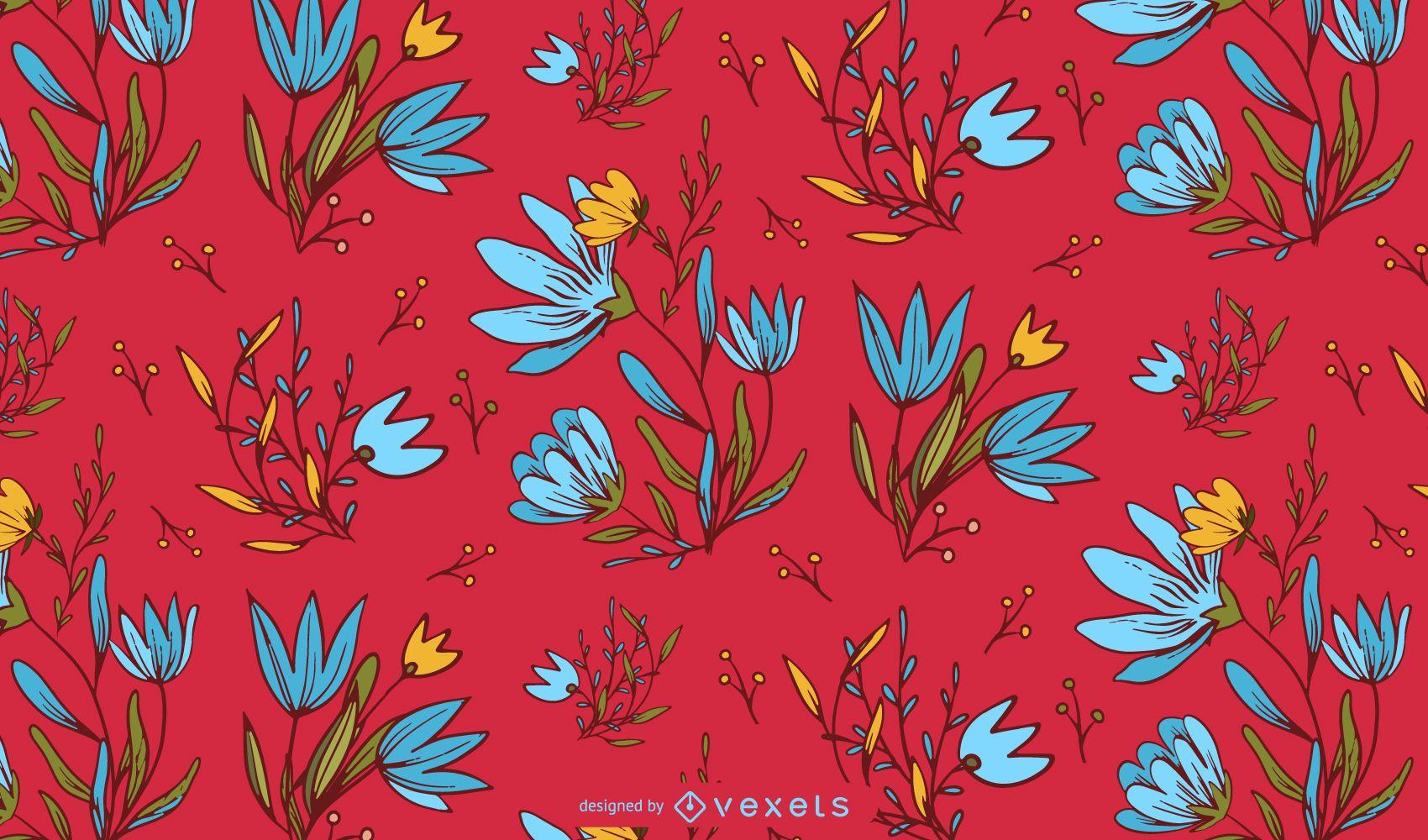 Diseño de patrón floral mexicano