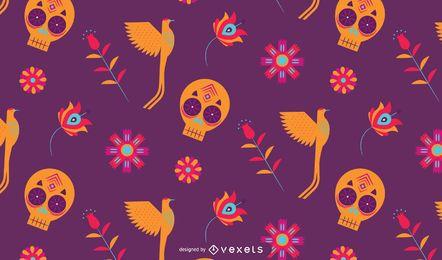Desenho de padrão colorido mexicano
