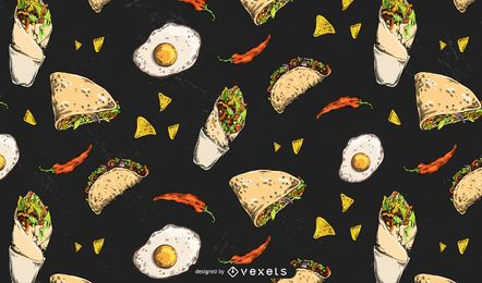 Mexican foods pattern design