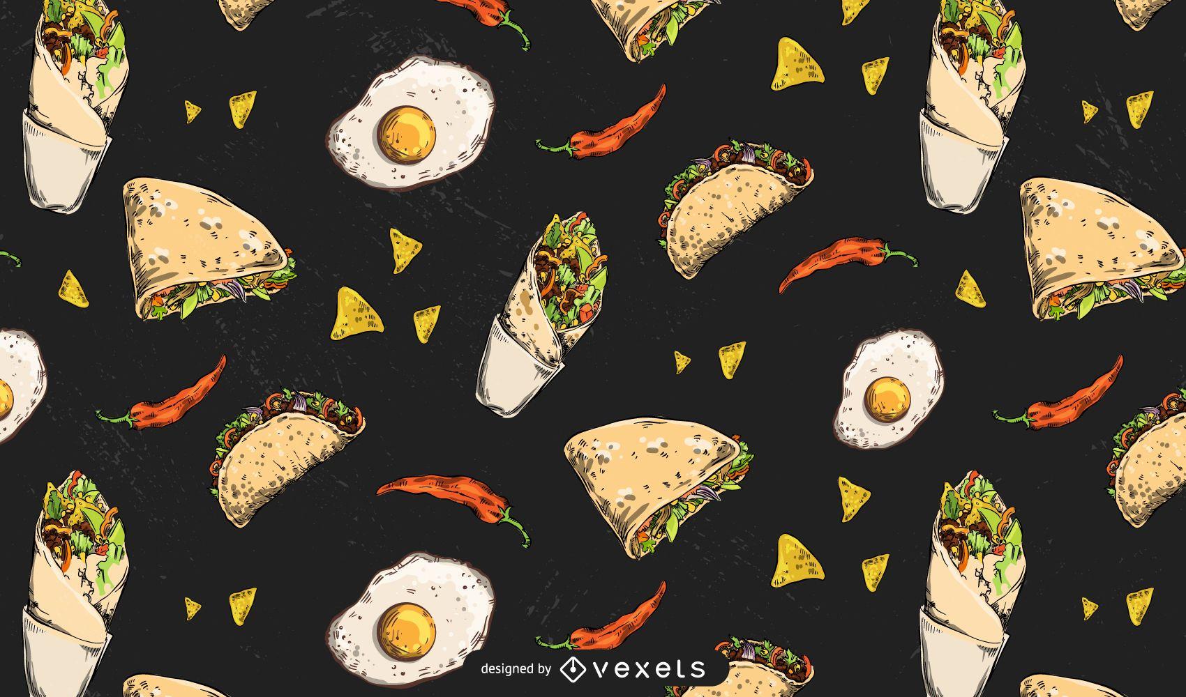 Diseño de patrón de alimentos mexicanos