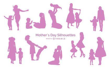 Pacote de silhueta de pessoas no dia das mães
