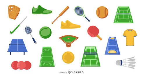 Sports Flat Elements Illustration Set