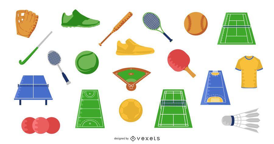 Sports Flat Elements Illustration Set