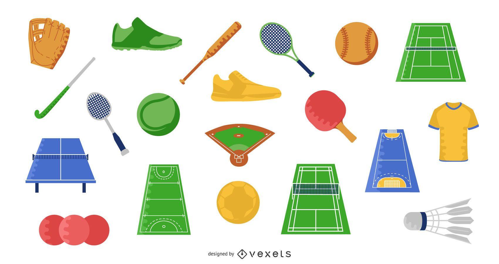 Conjunto de ilustração de elementos planos de esportes