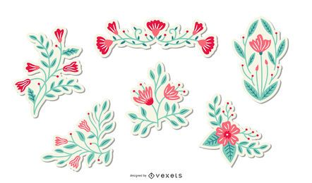 Pacote de adesivos de flores da primavera