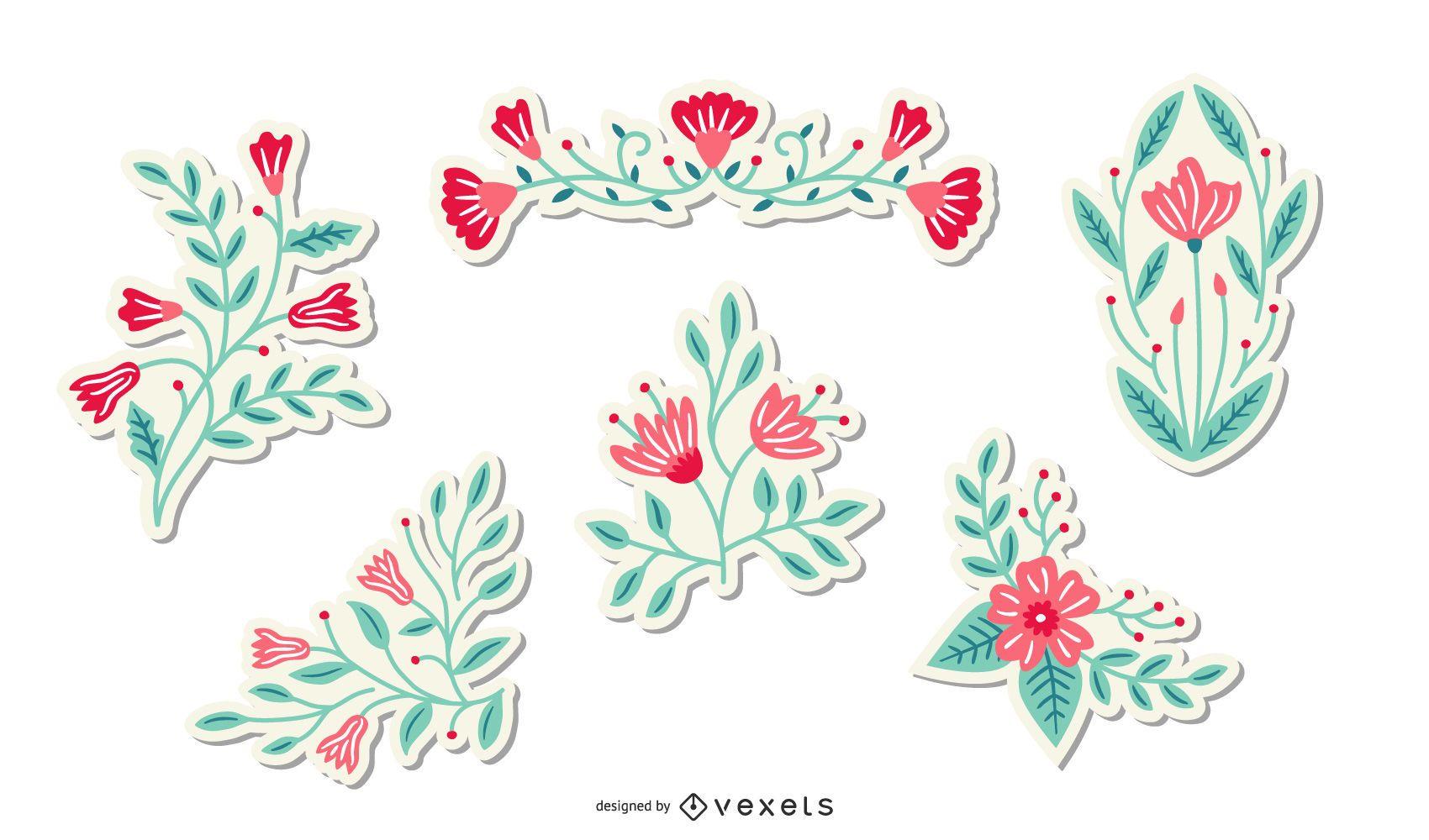 Paquete de pegatinas de flores de primavera