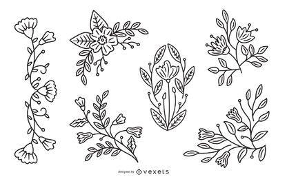 Pacote de ilustração de traço de flor de primavera