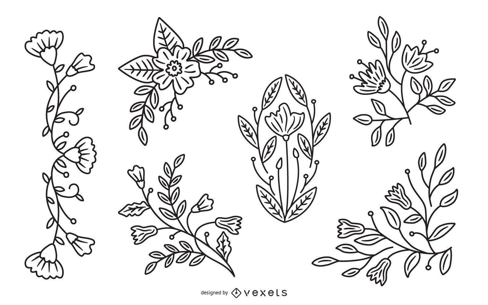 Pacote de ilustra??o de pincelada de flor de primavera