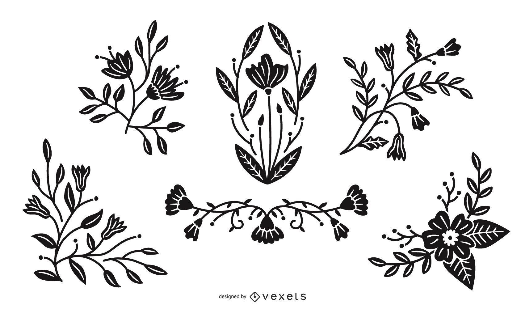 Paquete de ilustración de silueta de flores de primavera