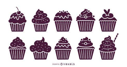 Conjunto de ilustração de cupcakes