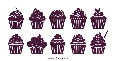 Cupcakes illustration set