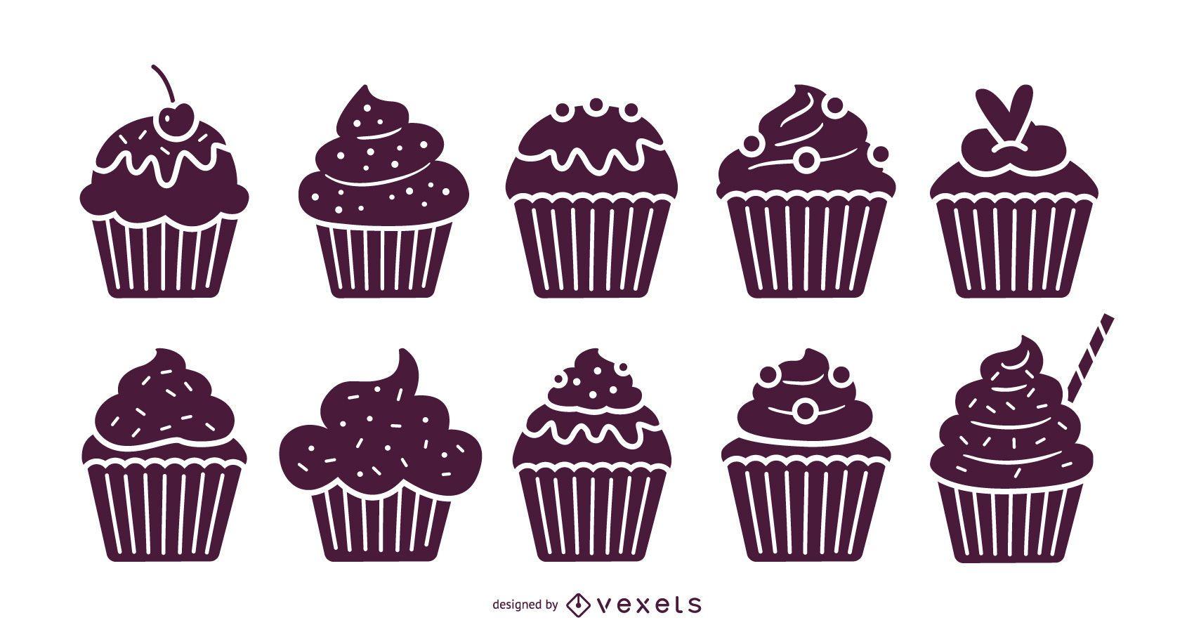 Conjunto de ilustración de cupcakes