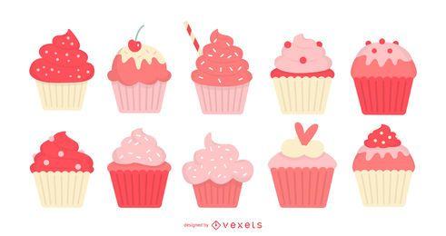 Conjunto plano de cupcakes