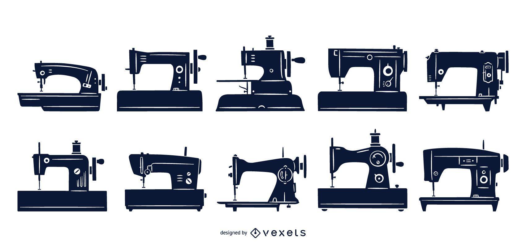 Coleção plana de máquinas de costura