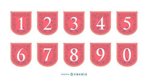 Conjunto de banner de números de primavera
