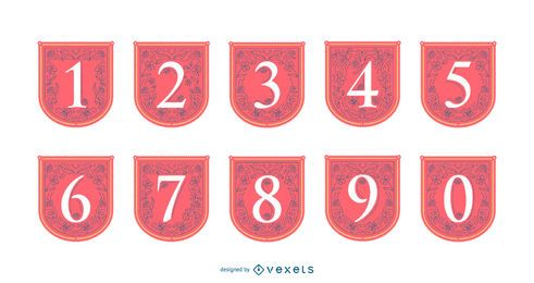 Spring numbers banner set